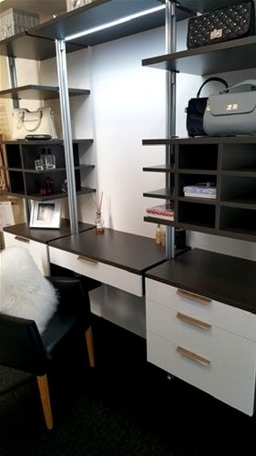 elite Modular Graphite Wardrobe and Makeup Desk